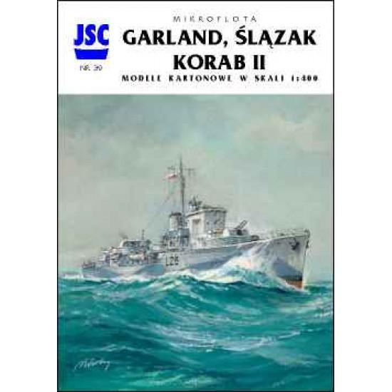 Polskie niszczyciele GARLAND i ŚLĄZAK, lugier KORAB II (JSC 039)