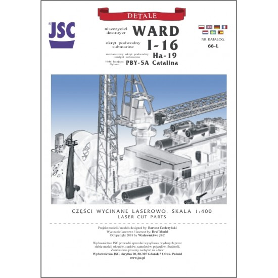 Detale laserowe do  modeli WARD, I-16, Ha-19, PBY-5A Catalina (JSC 066-L)