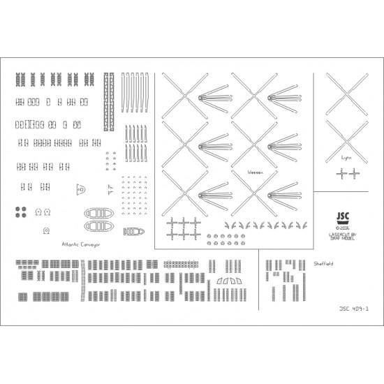 Detale laserowe do modeli SHEFFIELD, ATLANTIC CONVEYOR (JSC 409-L)